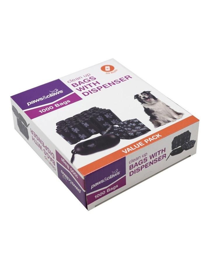 1000pc Pet Doggy Clean Up Bags Dog Waste Poo Bag w/ Dispenser Black image 2