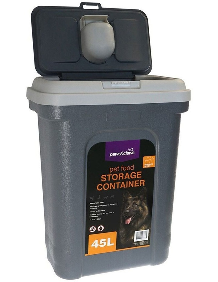 55cm 45L Pets/Dogs/Puppy Food Storage/Storer Container w/ Scoop GRY image 2