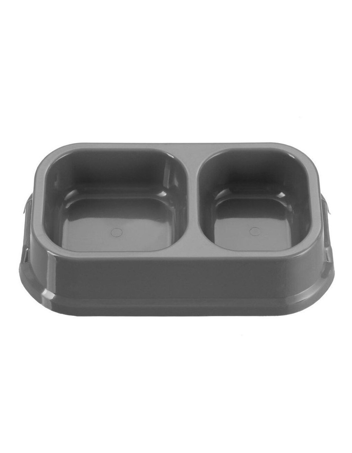 24.5cm Pets/Dogs Square Essentials Dual Bowl/Dishes/Feeders Assort. image 1