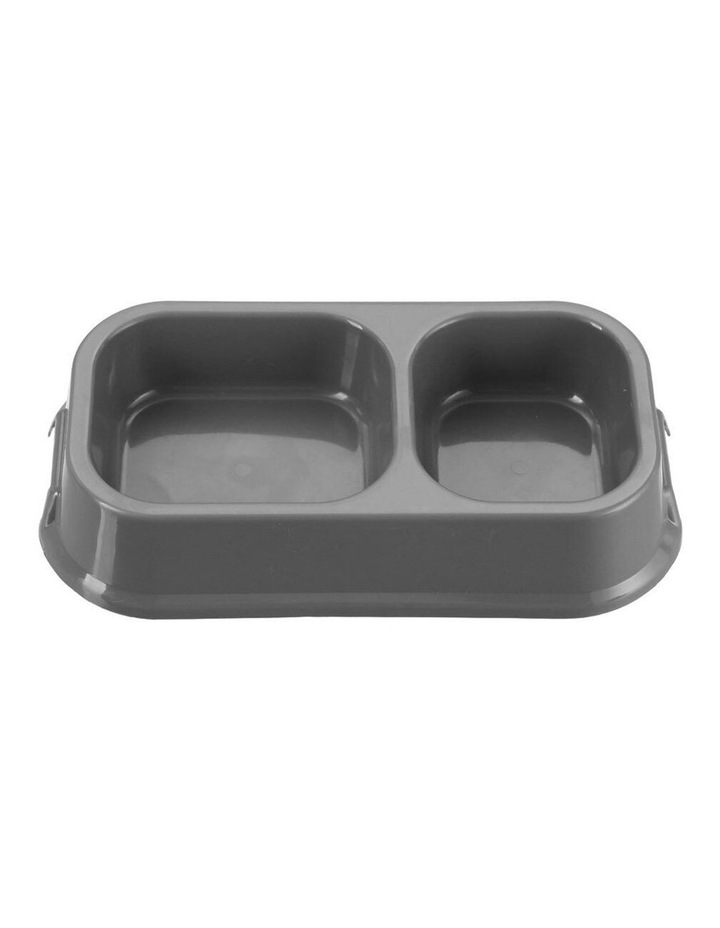 32cm Pets/Dogs Square Essentials Dual Bowl/Dishes/Feeders Assorted image 1