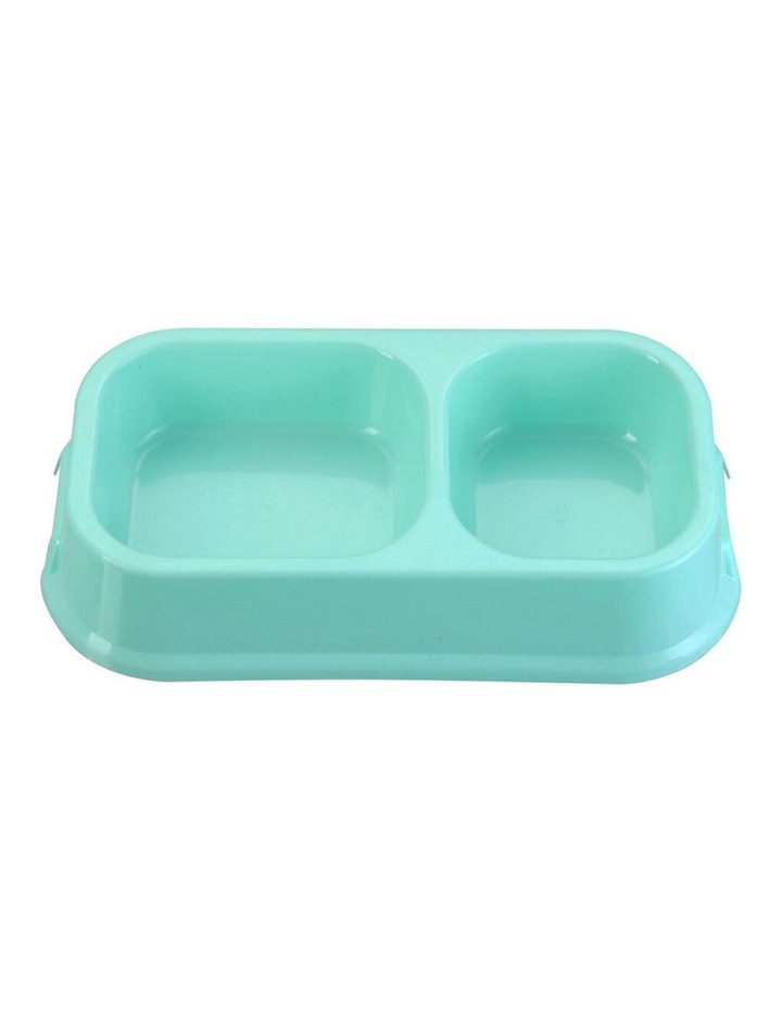 32cm Pets/Dogs Square Essentials Dual Bowl/Dishes/Feeders Assorted image 2