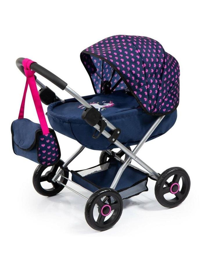 Bayer Cosy 59cm Pram/Stroller Kids Toy for 46cm Dolls Dark Blue With  Pink Hearts image 1