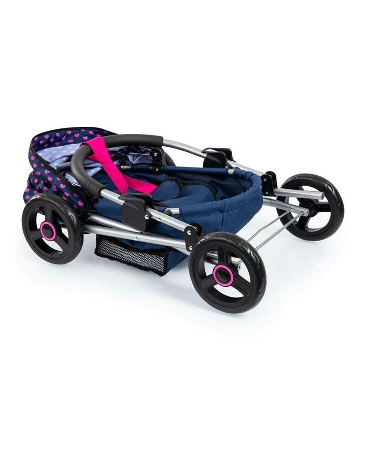 Bayer Cosy 59cm Pram/Stroller Kids Toy for 46cm Dolls Dark Blue With  Pink Hearts image 2