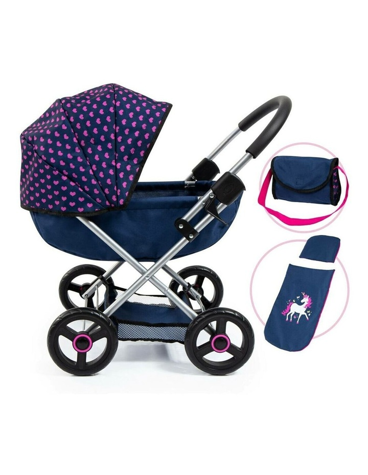 Bayer Cosy 59cm Pram/Stroller Kids Toy for 46cm Dolls Dark Blue With  Pink Hearts image 3