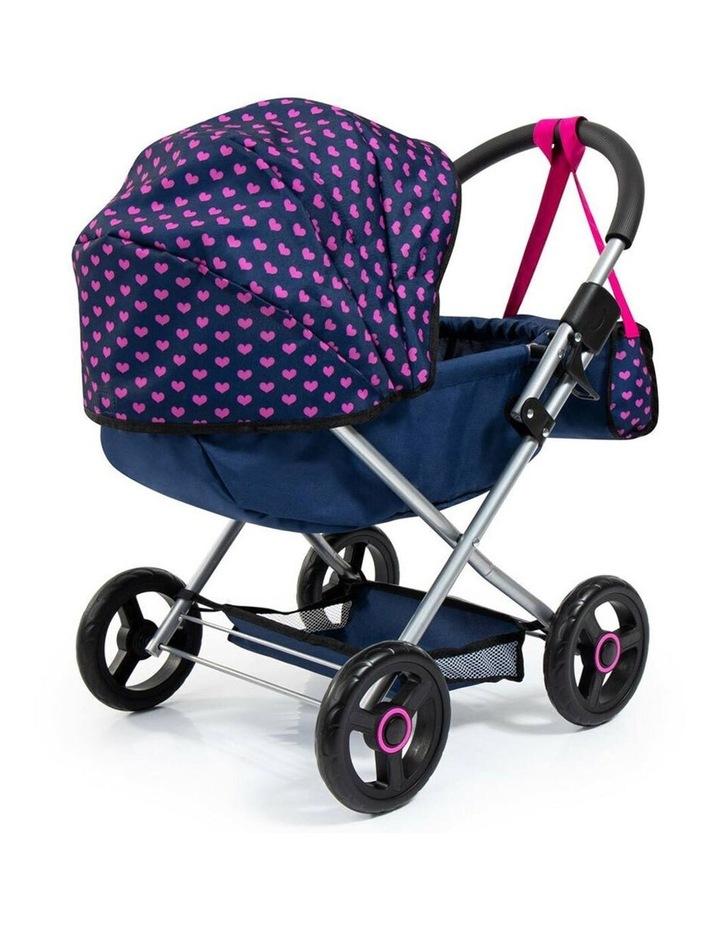 Bayer Cosy 59cm Pram/Stroller Kids Toy for 46cm Dolls Dark Blue With  Pink Hearts image 4