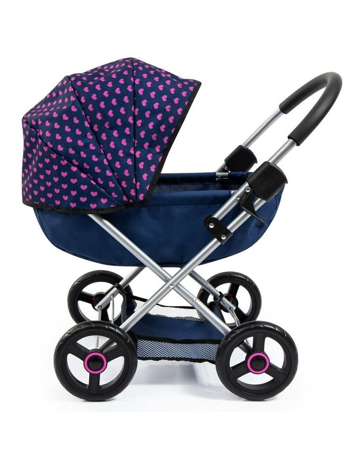 Bayer Cosy 59cm Pram/Stroller Kids Toy for 46cm Dolls Dark Blue With  Pink Hearts image 7