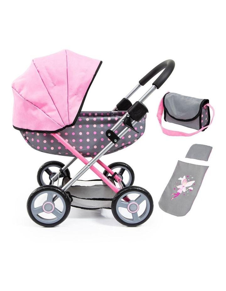 Bayer Cosy 59cm  Pram/Stroller for 46cm Dolls Grey With Pink Spots Kids Toy image 1