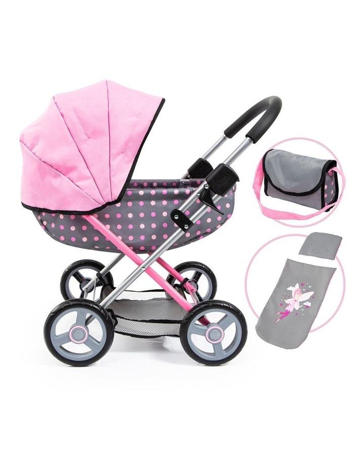 Bayer Cosy 59cm  Pram/Stroller for 46cm Dolls Grey With Pink Spots Kids Toy image 2