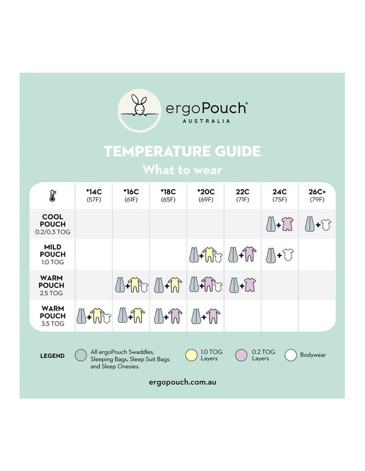 ErgoPouch Sheeting Sleeping Bag Baby Organic Cotton TOG 1.0 Size 8-24m Shells image 5