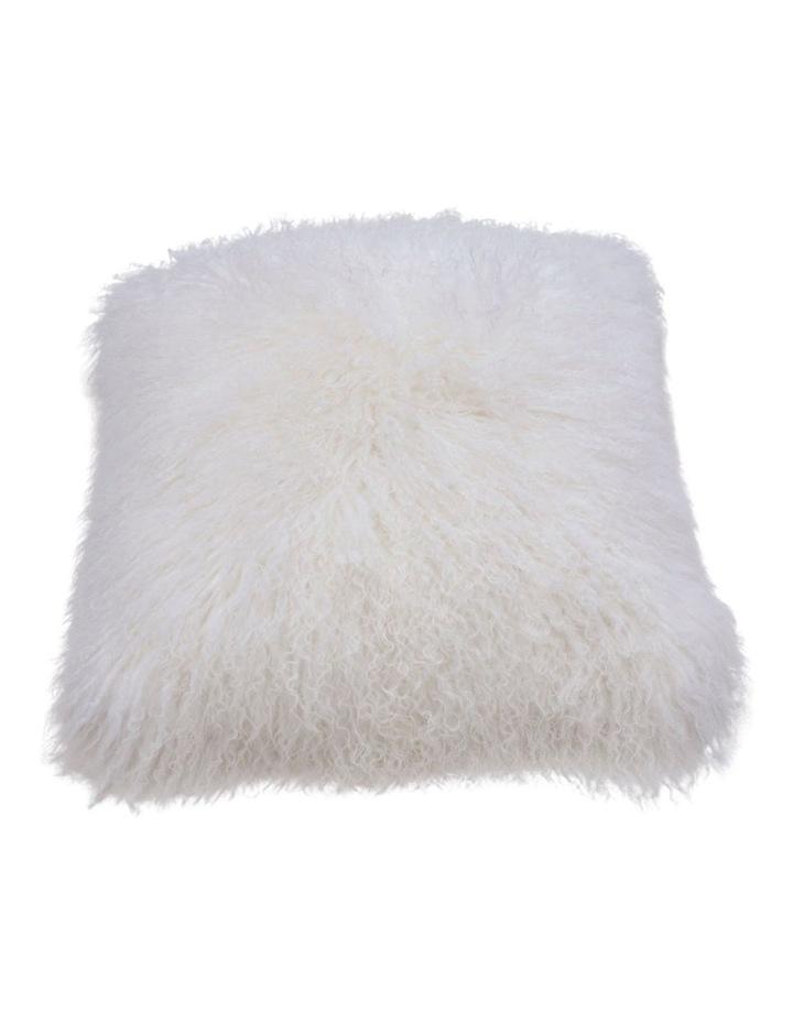 Long Wool Mongolian Sheepskin Cushion Cover - Ivory image 1