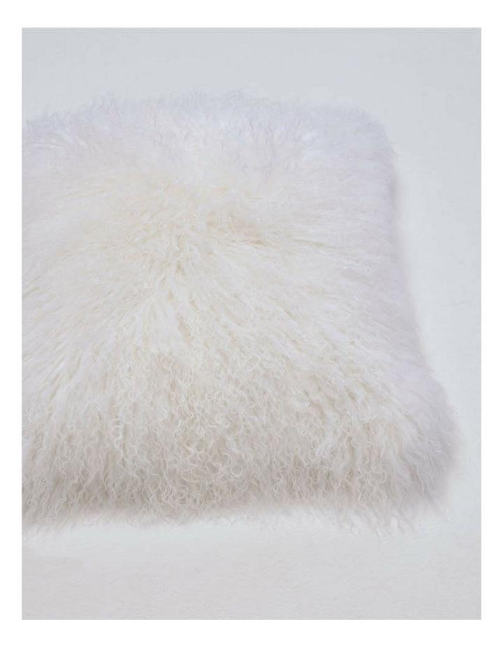 Long Wool Mongolian Sheepskin Cushion Cover - Ivory image 2