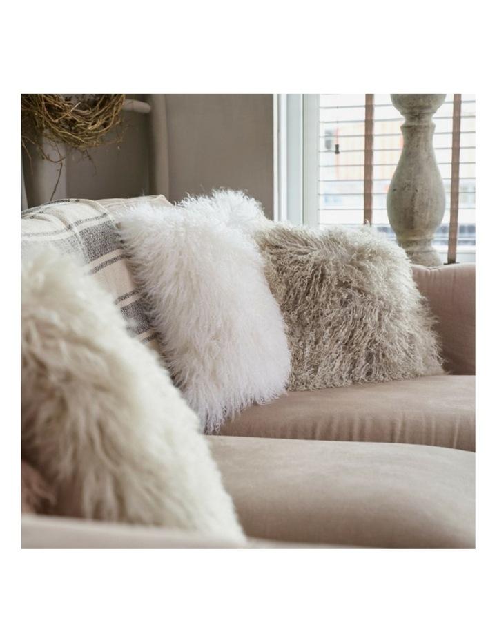 Long Wool Mongolian Sheepskin Cushion Cover - Ivory image 4