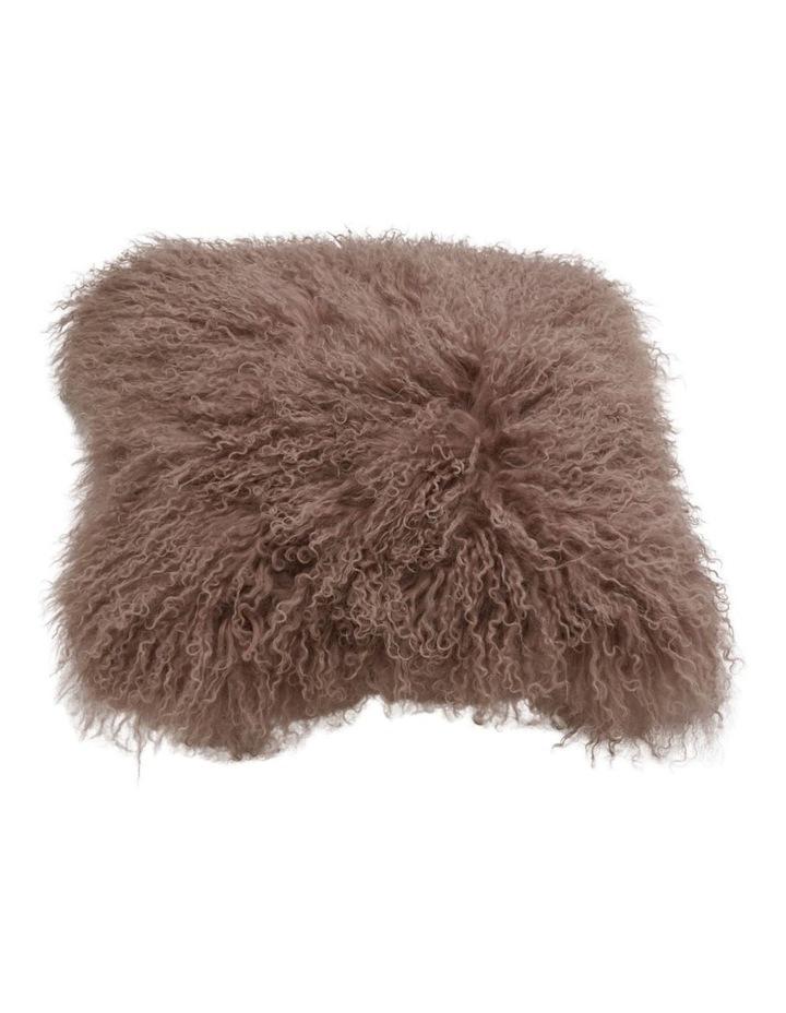 Long Wool Mongolian Sheepskin Cushion Covers - Mocha image 1