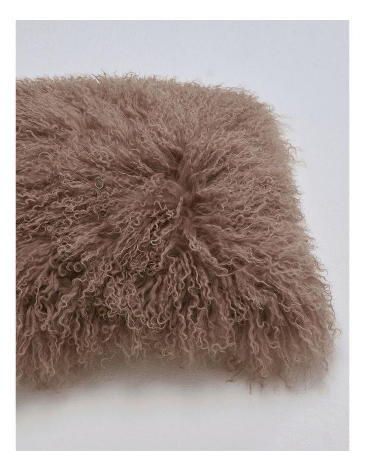 Long Wool Mongolian Sheepskin Cushion Covers - Mocha image 2