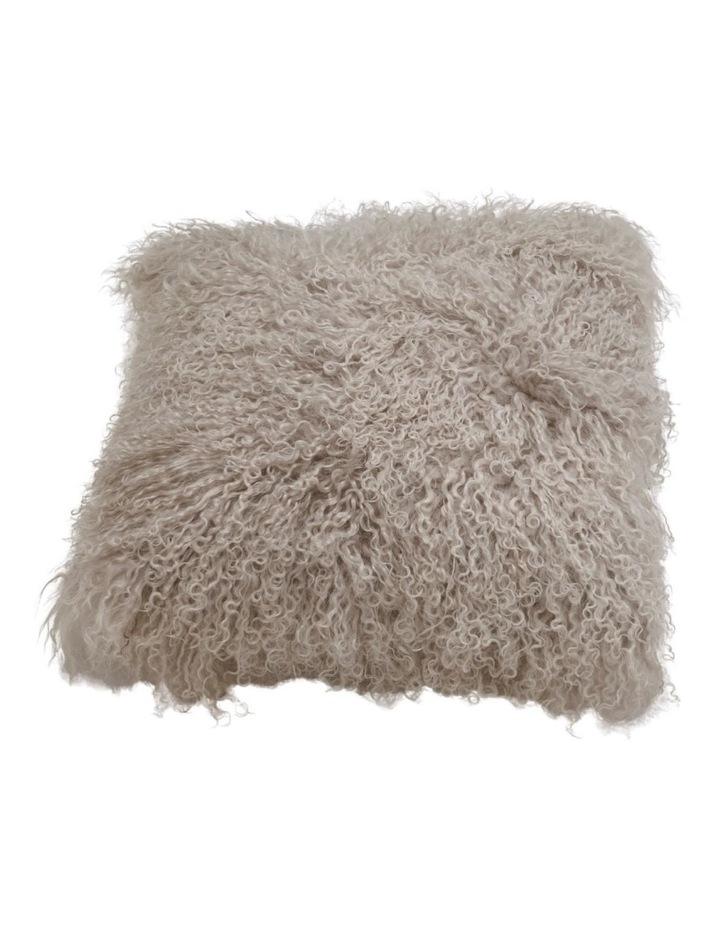 Long Wool Mongolian Sheepskin Cushion Covers - Grey image 1