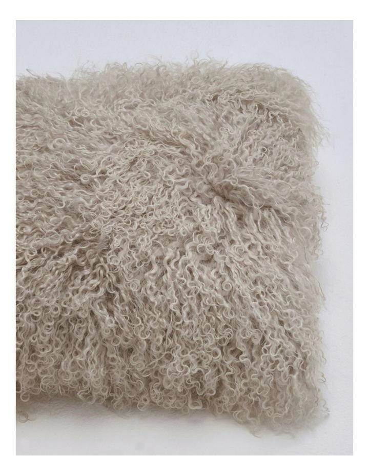 Long Wool Mongolian Sheepskin Cushion Covers - Grey image 2