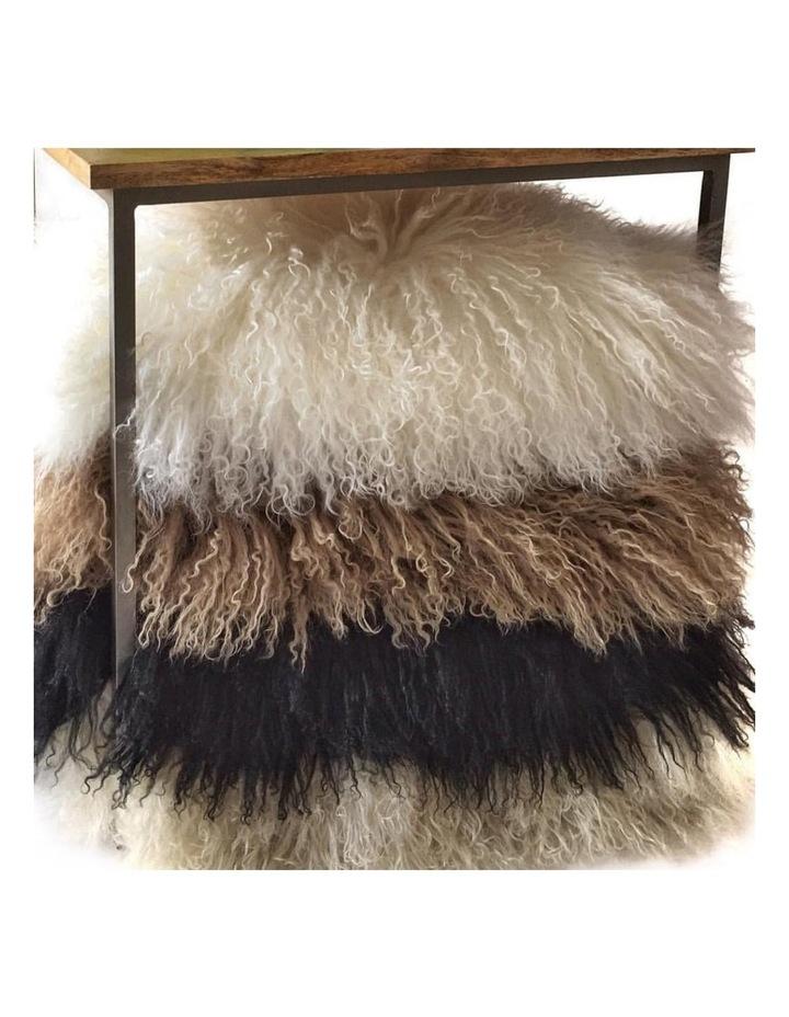 Long Wool Mongolian Sheepskin Cushion Covers - Grey image 3