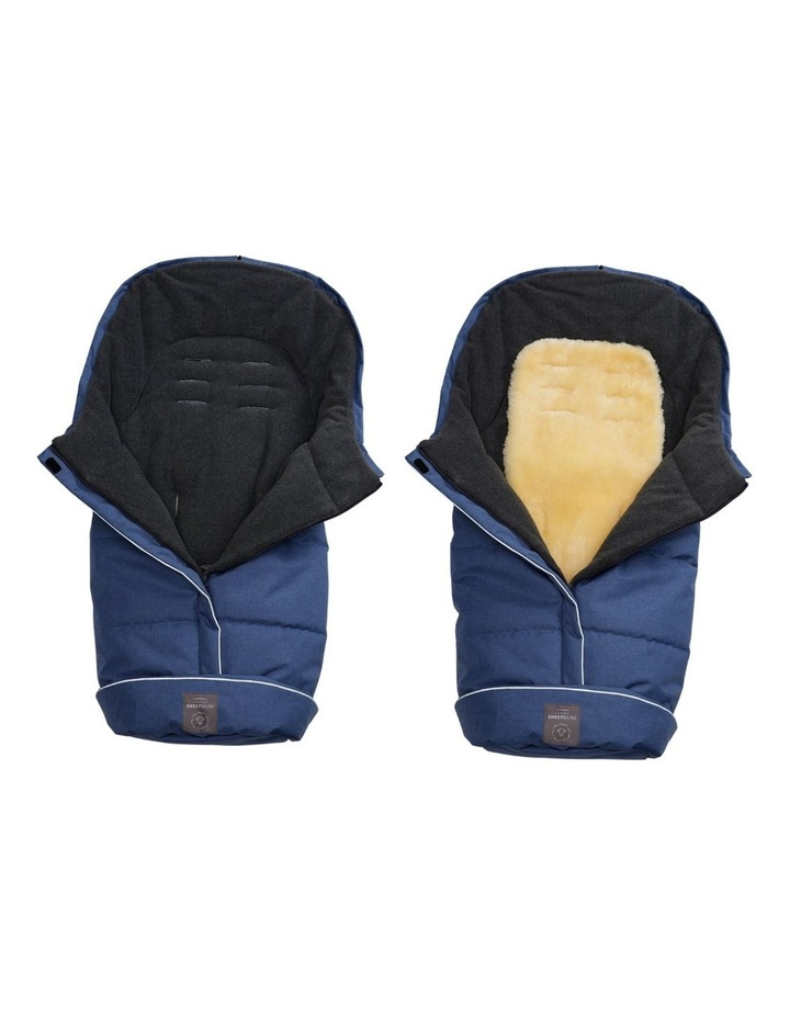 Combi Fleece Footmuff with removable Lambskin Liner (Universal Fit) - Linear Blue image 2