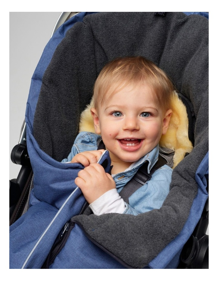 Combi Fleece Footmuff with removable Lambskin Liner (Universal Fit) - Linear Blue image 4