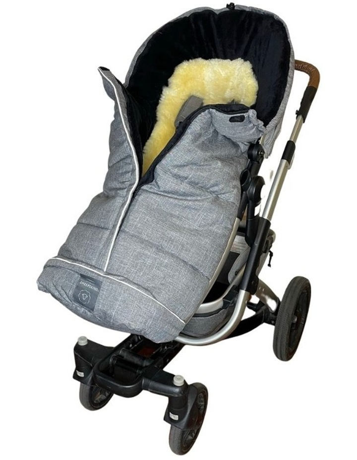 Combi Fleece Footmuff with removable Lambskin Liner (Universal Fit) - Linear Grey image 1