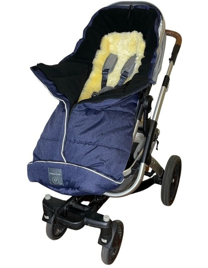 Combi Fleece Footmuff with removable Lambskin Liner (Universal Fit) - Linear Navy image 1
