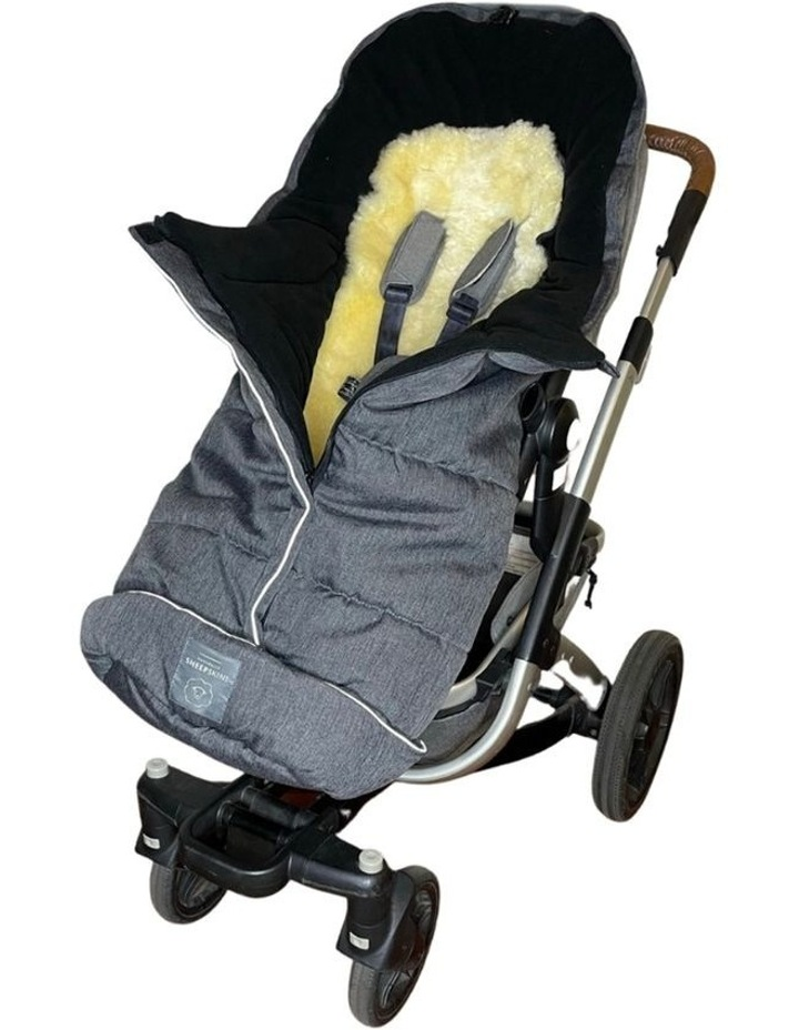 Combi Fleece Footmuff with removable Lambskin Liner (Universal Fit) - Linear Charcoal image 1