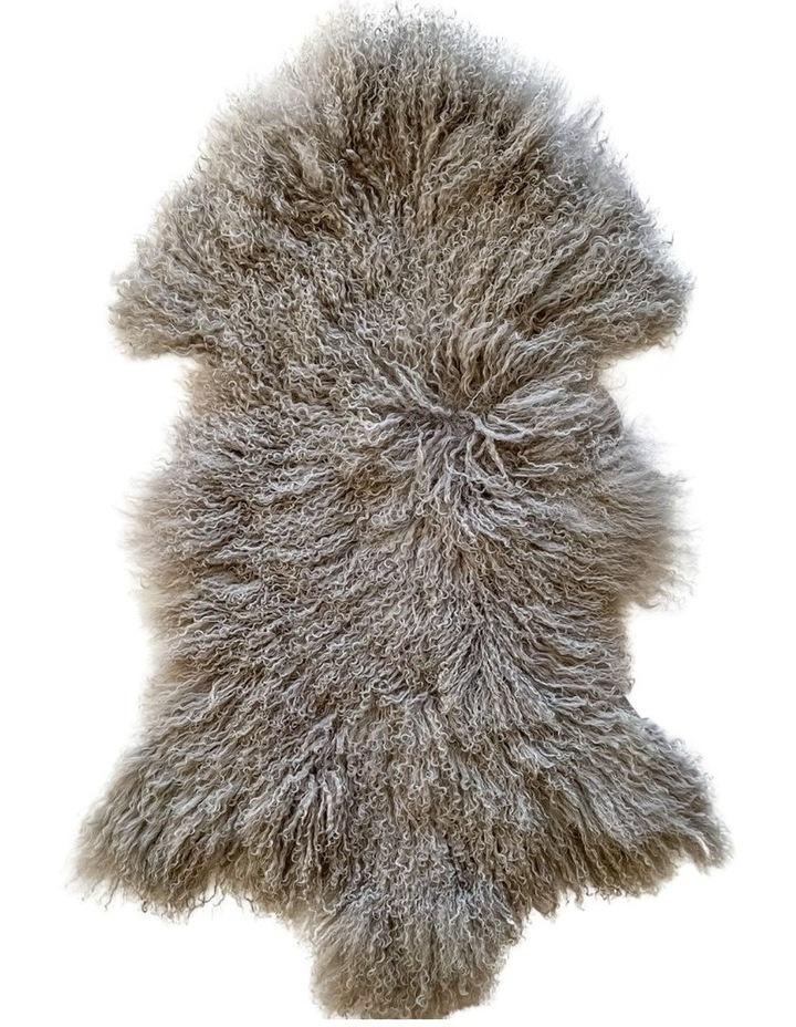 Long Wool Mongolian Sheepskin Rug - Grey image 1