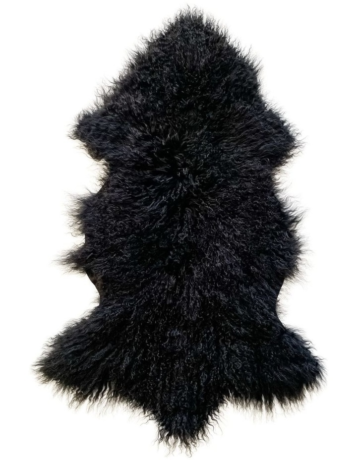 Long Wool Mongolian Sheepskin Rug - Black image 1