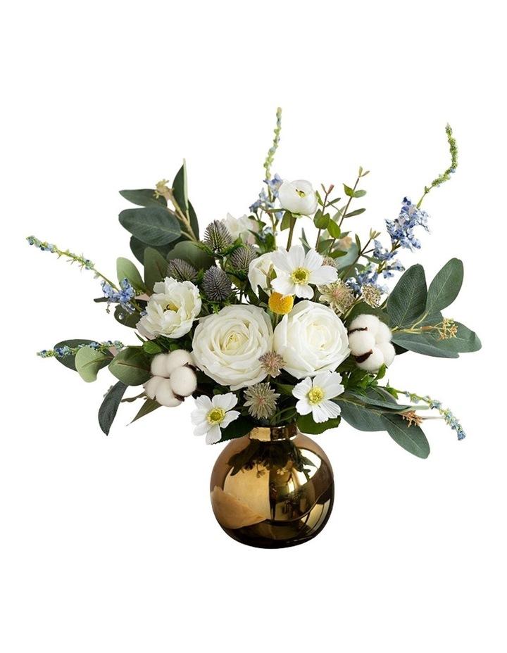 Cotton White Rose Floral Arrangement image 1