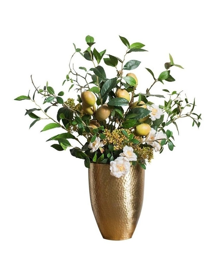 Natural Look Lemon and Flower In Hand Made Indian Vase image 1