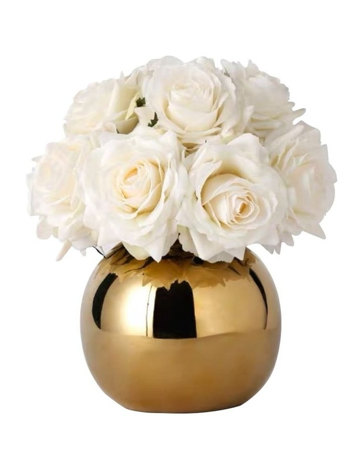 Real Touch Luxury Artificial White Rose Arrangement image 1