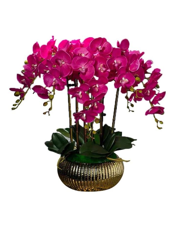 Exclusive Design Fuschia 10 Stems Artificial Orchids arrangement in Golden Pot image 1