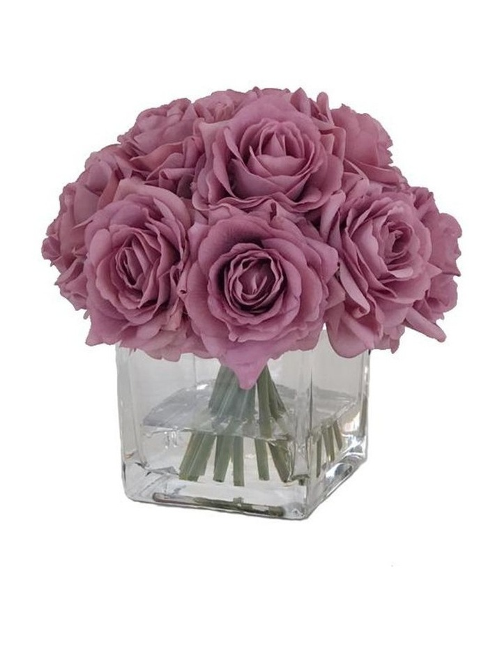 Real Touch Luxury Artificial Purple Gray Rose Arrangement image 1