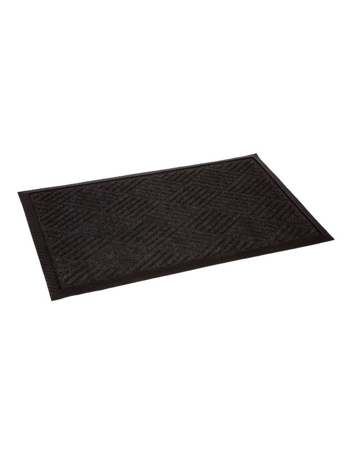 Ellora Charcoal Striped Polypropylene Doormat, Thin Welcome Entry Mat 45x75 cm image 1