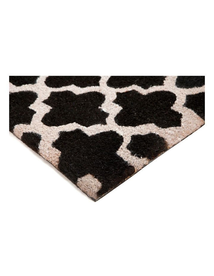 Girih Black and White PVC Backed Coir Doormat 45x75 cm image 1