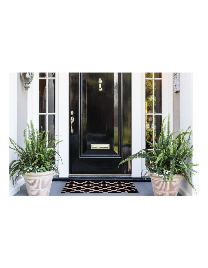 Girih Black and White PVC Backed Coir Doormat 45x75 cm image 3