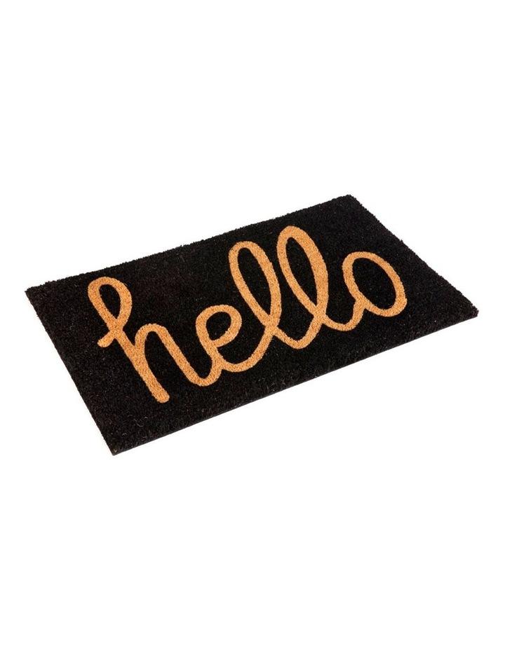 Hello - Black PVC Backed Coir Doormat 45x75 cm image 1