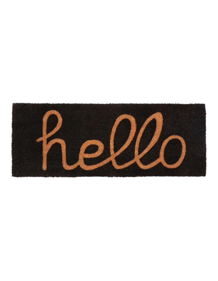 Hello - Black PVC Backed Coir Doormat 45x75 cm image 2