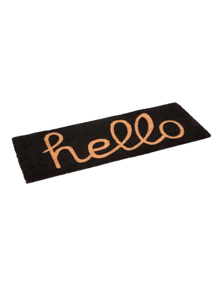 Hello - Black PVC Backed Coir Doormat 45x75 cm image 3