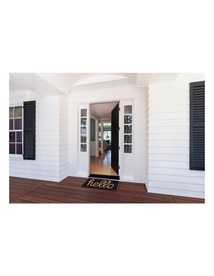 Hello - Black PVC Backed Coir Doormat 45x75 cm image 5