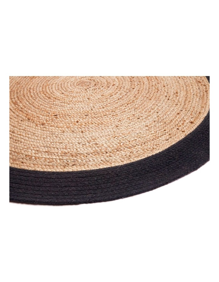 100cm Round Jute Rug | Decorative Floor Rug Phoenix Black & Natural image 2