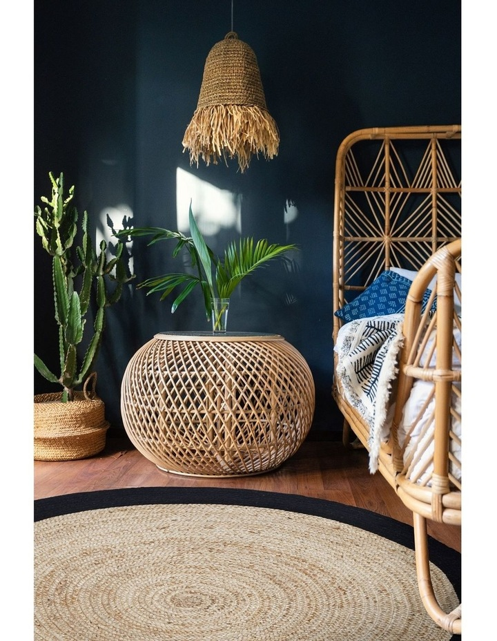 100cm Round Jute Rug | Decorative Floor Rug Phoenix Black & Natural image 3