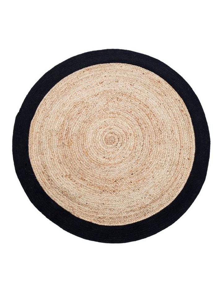 200cm Round Jute Rug | Decorative Floor Rug Phoenix Black & Natural image 1
