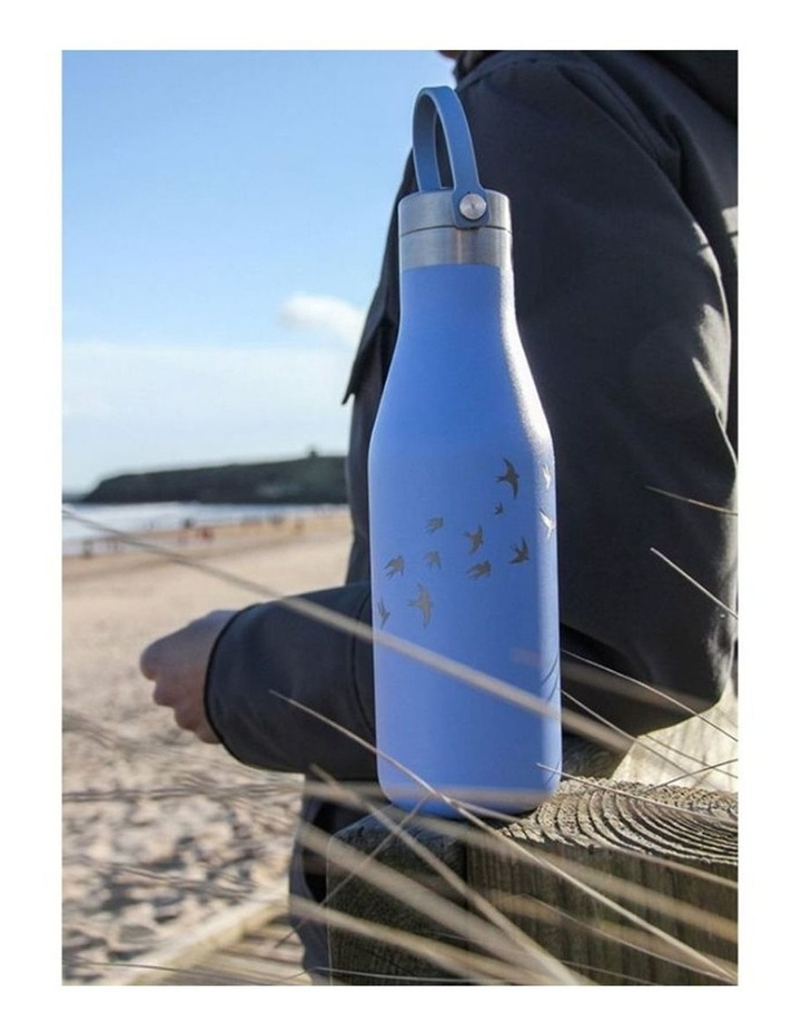 Blue Bottle With Etched Swallow image 2