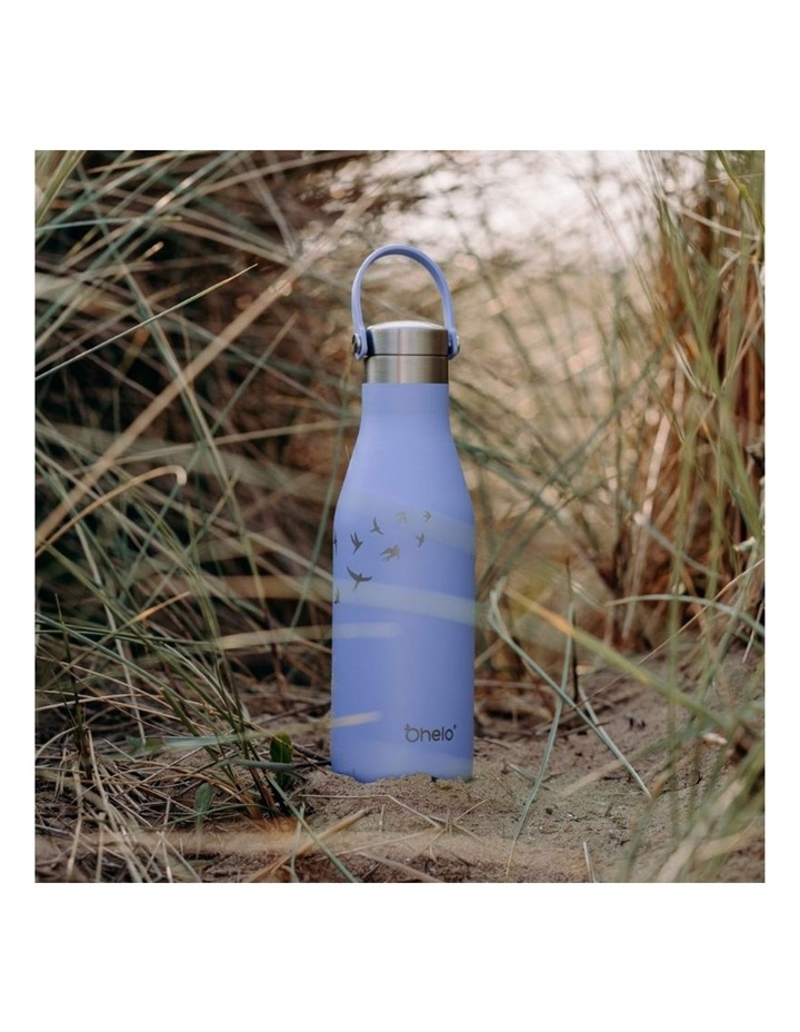 Blue Bottle With Etched Swallow image 3