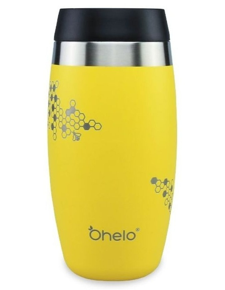 Yellow Tumbler With Etched Bees image 2