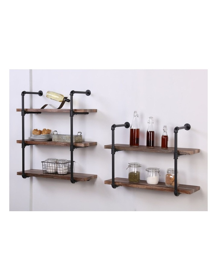 3 Tier Industrial Pipe Wall Shelf Retro Brown image 3