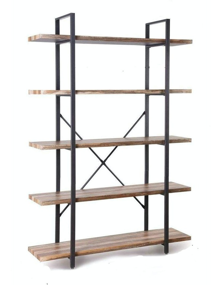 5 Tier Industrial Wood and Metal Bookshelves Retro Brown image 1