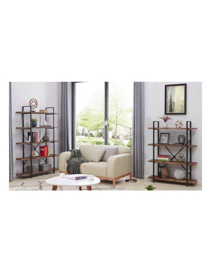 5 Tier Industrial Wood and Metal Bookshelves Retro Brown image 3