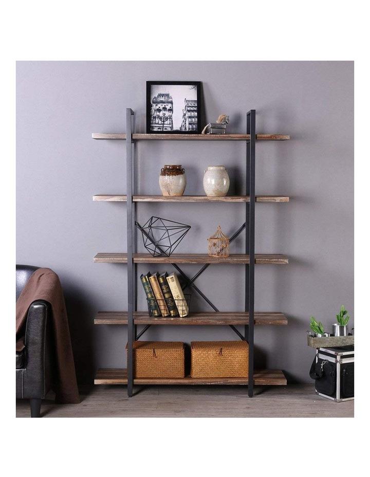 5 Tier Industrial Wood and Metal Bookshelves Retro Brown image 4